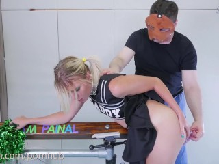Asshole To Mouth Punishment For Blond Cheerleader In Braces