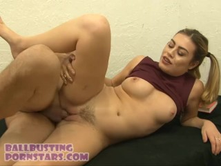 Veronica Valentine Teen Cheerleader CFNM Ballbusting With Braces And Facial