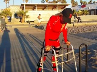 Paraplegic Tiphany Braces Beach Walk