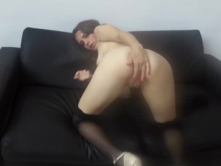 Wank Off Instruction From Young Girl With Braces In Black Stockings