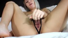 Titillating Blonde's Hairy Bush And Crotchless Thong