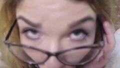 POV Nerdy School Girl Gagging And Swallow Spunk