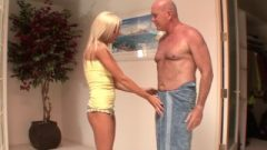 Braced Nubile Watches Old Dude Taking A Shower Then She Is Caught
